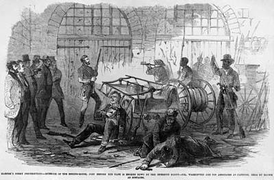 John Brown And Others Inside The Engine Art Print by Everett