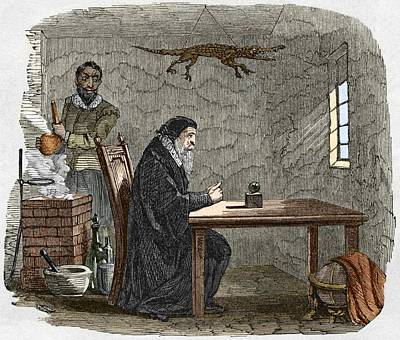 John Dee And Edward Kelly Print by Sheila Terry