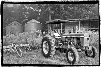 John Deere In Black And White Art Print by Debra and Dave Vanderlaan