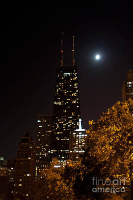 Chicago Photograph - John Hancock Building In The Moonlight by Christopher Purcell