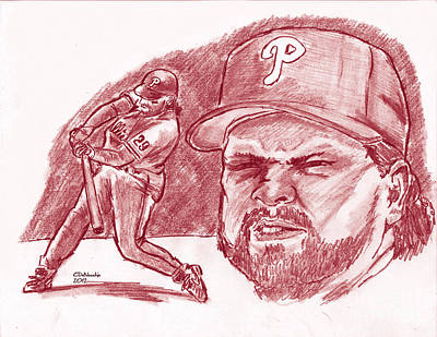 Drawing - John Kruk by Chris  DelVecchio