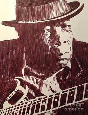 Robbi Musser Drawing - John Lee Hooker by Robbi  Musser