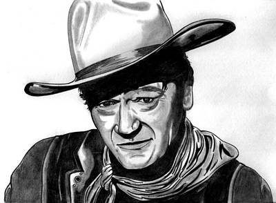 John Wayne Drawings Drawing - John Wayne by Ralph Harlow