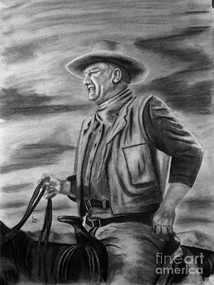 John Wayne Drawings Drawing - John Wayne by Russ  Smith