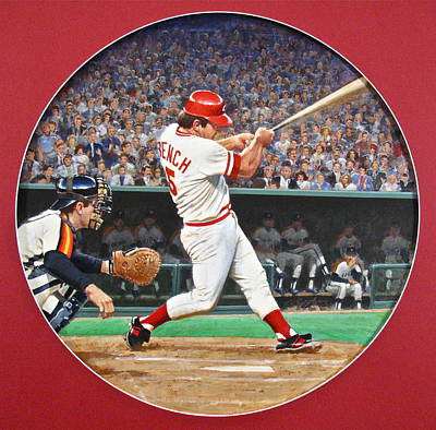 Johnny Bench Mixed Media - Johnny Bench by Cliff Spohn