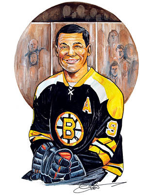 Nhl Hockey Drawing - Johnny Bucyk by Dave Olsen