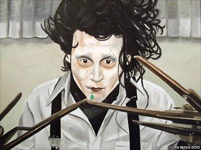 Edward Scissorhands Painting - Johnny Depp - Edward And The Pea by Ina Schulz