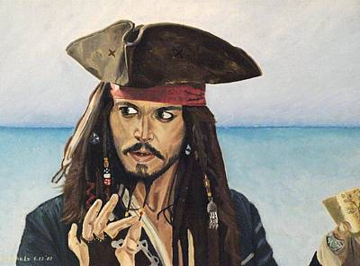 Pirates Of The Caribbean Painting - Johnny Depp - Egregious by Ina Schulz