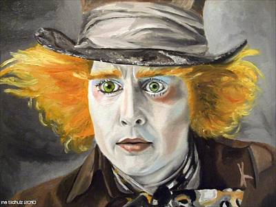 Mad Hatter Painting - Johnny Depp - The Mad Hatter by Ina Schulz