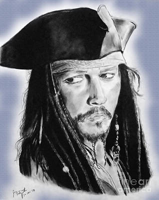 Orlando Bloom Drawing - Johnny Depp As Captain Jack Sparrow In Pirates Of The Caribbean II by Jim Fitzpatrick