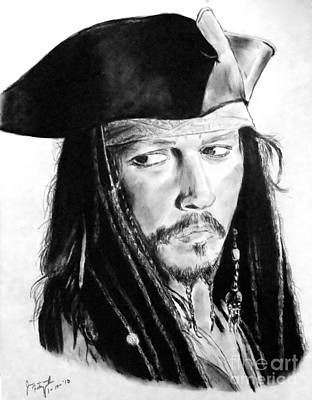 Orlando Bloom Drawing - Johnny Depp As Captain Jack Sparrow In Pirates Of The Caribbean by Jim Fitzpatrick
