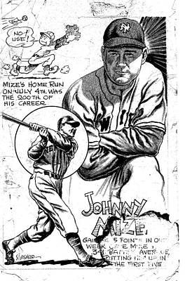 Johnny Mize Art Print by Steve Bishop