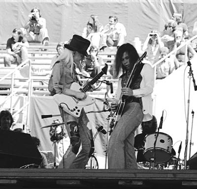 Photograph - Johnny Winter And Floyd Radford In Oakland 1975 by Ben Upham