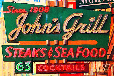 Bay Area Digital Art - Johns Grill In San Francisco . Home Of The Maltese Falcon by Wingsdomain Art and Photography