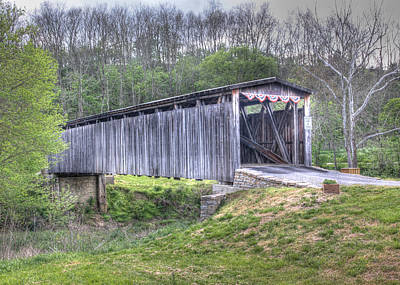 Johnson Creek Covered Bridge Art Print by Harold Rau