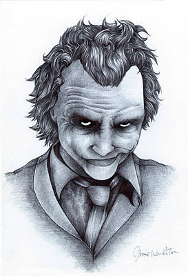 Heath Ledger Wall Art - Drawing - Joker by Jamie Warkentin
