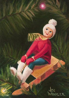 Art Print featuring the painting Jolly Old Elf by Joe Winkler