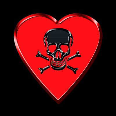 Photograph - Jolly Roger Red Heart by Andrew Fare