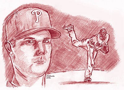 Drawing - Jonathan Papelbon Cinco Ocho by Chris  DelVecchio