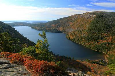 Jordan Pond In Autumn From North Bubble Acadia National Park Art Print by John Burk