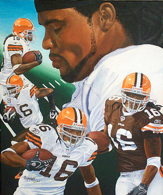 Cleveland Browns Football Painting - Joshua Cribbs by Billy Haney