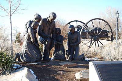 Atlas Bronze Casting Sculpture - Journey's End Bronze Handcart Pioneer Family Statue  by Stan Watts