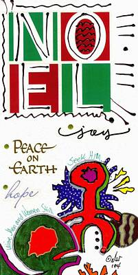 Mixed Media - Joy And Peace On Earth Card by Angela L Walker