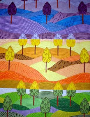 Fruit Tree Art Painting - Joyful Hills by Paula Bramlett
