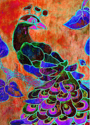 Peacock Bird Painting - Joyful by Robin Mead