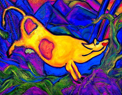 Painting - Joyful Yellow Cow by Laura  Grisham