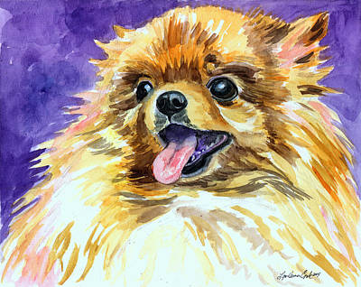 Watercolor Pet Portraits Painting - Joyous Soul - Pomeranian by Lyn Cook
