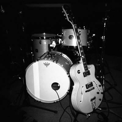 Jp Soars Guitar And Drum Kit Art Print by Kathy Hunt