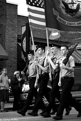 Photograph - Jrotc Carrying Flag In The Parade by Gray  Artus