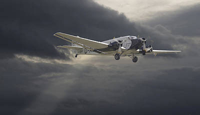Storm Clouds Digital Art - Ju52 -- Iron Annie by Pat Speirs