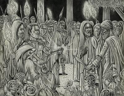 Master Piece Drawing - Judas In Garden by Vincnt Clark