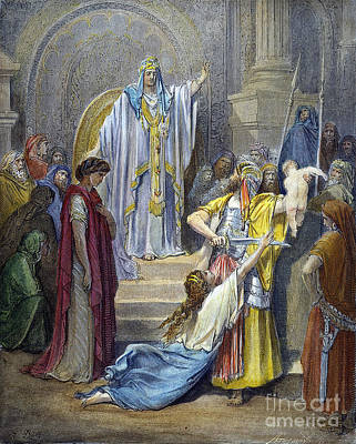 Drawing - Judgement Of Solomon by Gustave Dore