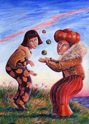 Painting - Jugglers At Twilight by June Walker