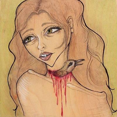 Bled Drawing - Jugular by Jenn Page