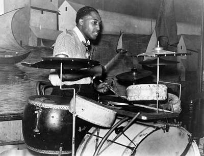 Unidentified Photograph - Juke Joint: Drummer, 1939 by Granger