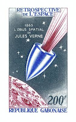 Jules Verne Commemorative Stamp Art Print by Detlev Van Ravenswaay