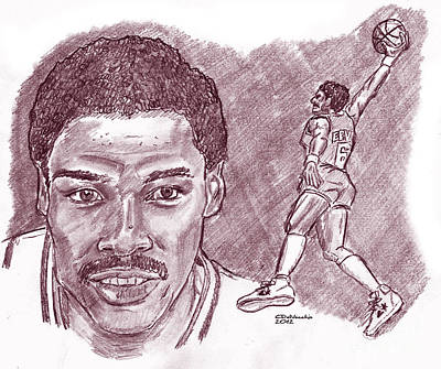 Drawing - Julius Erving Drj by Chris  DelVecchio