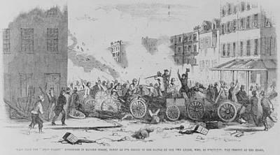 July 4 1857 Battle On Bayard Street Art Print by Everett