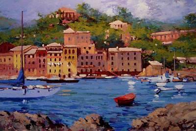 July In Portofino Art Print by R W Goetting