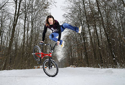 Photograph - Jumping Bmx Flatland Girl by Matthias Hauser