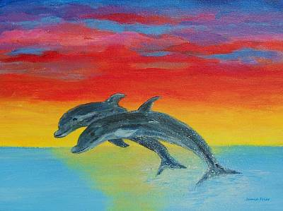Painting - Jumping Dolphins Left by Jamie Frier