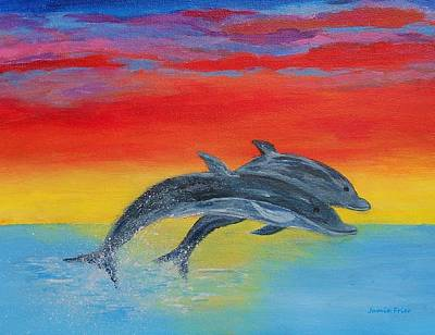 Painting - Jumping Dolphins Right by Jamie Frier