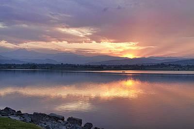 Golden Photograph - June Longs Peak Lake Sunset Reflections by James BO  Insogna
