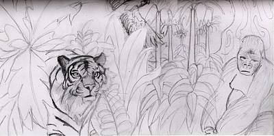 Diane Peters Drawing - Jungle Lines by Diane Peters