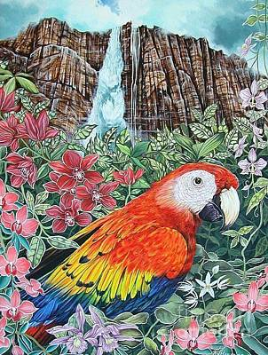 Jungle Parrot Art Print by Kimberlee  Ketterman Edgar