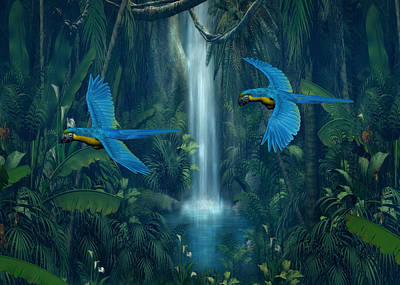 Digital Art - Jungle Waterfall by Walter Colvin